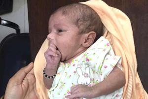Two day old baby after surgery at Narayana hospital.