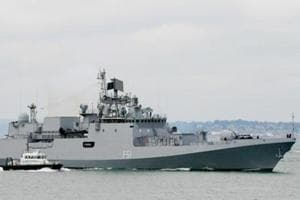 Indian Navy frigate INS Trikand (F51) of the Talwar class (modified Russian Krivak III class) frigate entering Portsmouth Naval Base, UK, on 12 July 2013.