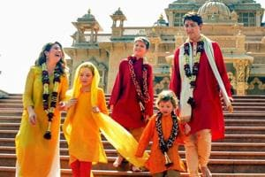 Canadian Prime Minister Justin Trudeau along with his family members visit Swaminarayan Akshardham Temple in Gandhinagar on February 19, 2018.