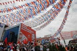 Supporters of Turkish President Tayyip Erdogan attend an election rally in Istanbul, Turkey, on Friday.