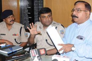 Deputy Inspector General (DIG) Amol V Homkar and Khunti Suprientendent of police Ashwani Kumar Sinha addressing a press conference on the recent Khunti rape incident in Ranchi, India, on June 23, 2018.
