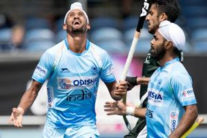 Indian hockey team beat Pakistan 4-0 in the Champions Trophy opener in Breda on Saturday.