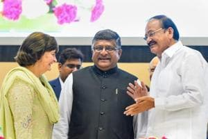 Vice-president M Venkaiah Naidu with Union law minister Ravi Shankar Prasad at an event to mark International Widows Day in New Delhi on Saturday.