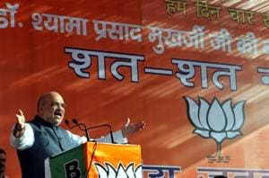 BJP president Amit Shah addresses a public rally at Prade Chowk, in Jammu, on June 23.