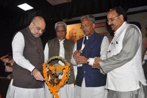 (From Left) BJP chief Amit Shah, party general secretary Ramlal, CM Trivendra Singh Rawat and BJP state president Ajay Bhatt at Social Media Volunteers' Meet in Dehradun on Sunday.