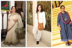 (L-R) Danseuse Sharon Lowen, fashion designer Rina Dhaka, artist Jayasri Burman and fashion designer Gaurav Jai Gupta