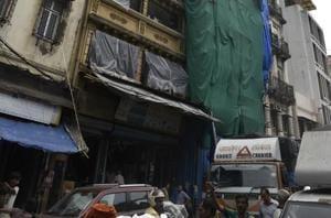 Laxmi Niwas, the four-storey dilapidated building on Narsinath street in Pydhonie.