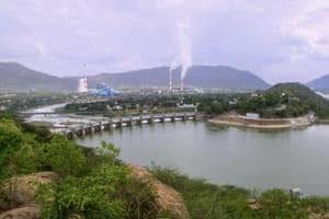 Cauvery river flowing through Mettur Dam in Tamil Nadu.