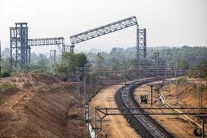 The train line that serves the Jharkhand power station.