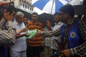 BMC officials inspects shops for use of banned plastic on Monday.