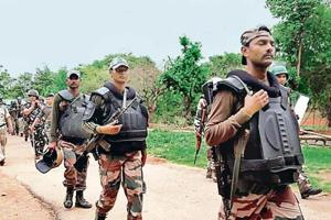 The force deployed to arrest the Khunti gangrape accused in Udbhuru, Jharkhand, on June 26.