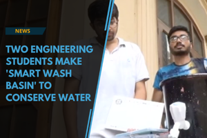 Two engineering students make 'smart wash basin' to conserve water