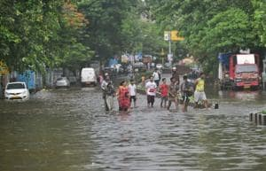 Water-logging on SV Road in Bandra.