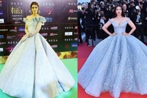 At IIFA 2018, Kriti Sanon's silver ball gown from Mark Bumgarner was reminiscent of Aishwarya Rai's Michael Cinco gown from Cannes Film Festival 2017.