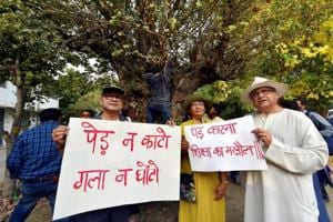 Activists from environmental organisations display placards with messages against cutting of trees in Nauroji Nagar, New Delhi, June 24