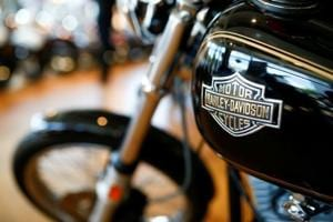 Harley Davidson motorcycles are displayed for sale at a showroom in London, Britain.