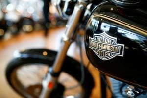 Harley Davidson motorcycles are displayed for sale at a showroom in London, Britain, June 22 2018.