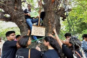 New Delhi: Activists from various environmental organisations symbolically hug a tree with the messages against cutting of trees in Nauroji Nagar area, in New Delhi on Sunday evening, June 24, 2018. (PTI Photo/Kamal Kishore) (PTI6_24_2018_000141B)