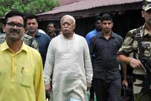 RSSchief Mohan Bhagwat at Hari Har Ashram in Haridwar after interacting with seers and spiritual leaders on Wednesday.