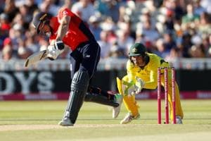 England's Jos Buttler hits a six during their T20 encounter against Australia in Birmingham on Wednesday.