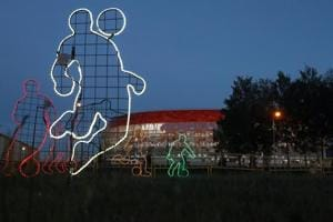 Neon light decorations in the shape of soccer players stand in front of the Mordovia Arena in Saransk, Russia June 27, 2018. According to Sony Pictures Networks India, women accounted for 46% of viewers and rural audiences, 41%.