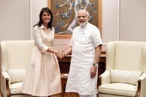 Prime Minister Narendra Modi with US Ambassador to the United Nations Nikki Haley in New Delhi.