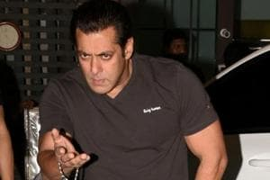 Actor Salman Khan arrives at the Eid party organised by his sister Arpita Khan, in Mumbai.