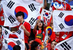 South Korea fans inside the stadium before the match. The Asian nation defeated Germany -- making the European football powerhouse exit the FIFA world cup in group stages for the first time in last 80 years.