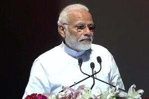 Prime Minister Narendra Modi speaks after laying the foundation stone for the National Centre for Ageing at the AIIMS in New Delhi on Friday.