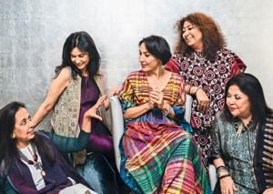 (From left) Anju Modi wears Banarasi cutwork palazzos, a chanderi kurta and bandhani cape, jewellery plus shoes (not seen in this picture) all from her own collection; Kavita Bhartia wears a crinkled garnet-hued silk dress with beige textured-hand block printed cape from her own collection and pearl earrings by Dior; Krishna Mehta wears a handwoven silk kaftan from her own brand, jewellery from Le Mill and shoes (not seen in this picture) by Stuart Weitzman; Madhu Jain wears an Uzbek bamboo silk Ikat choga, dupatta and loose pyjamas from her own brand and a South Sea pearl string; Ritu Kumar wears an ajrakh printed suit and skirt from her own brand and an antique mangalsutra from Coorg (Location courtesy: Roseate House, New Delhi; Art direction: Amit Malik; Assisted by: Ishaan Ishitava; Make-up and hair: Ambika Pillai Designer Salon)