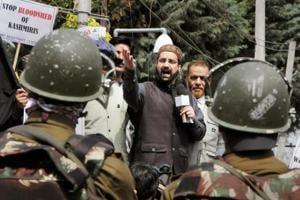 File photo of chairman of Hurriyat Conference (M) Mirwaiz Umar Farooq addressing a protest rally in Srinagar