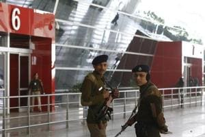 CISF Personnel at T3 IGI Airport in New Delhi, India.