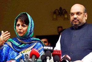 BJP president Amit Shah and PDP president  and former chief minister of Jammu and Kashmir, Mehbooba Mufti (PTI Photo)