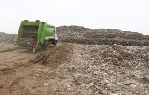 The Bandhwari landfill  in Gurugram, India. A 2015 survey by an environment expert found that both  surface  and groundwater in Bandhwari were highly polluted due to the leachate percolating into the ground. Around 1,20 0 tonnes of waste is dumped at the site daily.