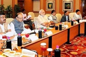Prime Minister Narendra Modi at a high-level meeting with industry leaders and top bureaucrats.