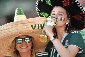 Mexico fans wait for the start of the match between Mexico and Sweden, at the 2018 soccer World Cup in the Yekaterinburg Arena in Yekaterinburg , Russia, June 27, 2018