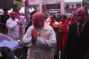 BJP president Amit Shah arrived in Imphal on Saturday to attend Tolly Baithak on Saturday.