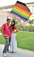 Parmesh Shahni and Nitasha Biswas at the pride parade organised at Indian School of Business in Mohali on Saturday.