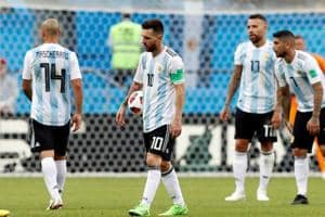 Argentina players after losing their Round of 16 match to France in the FIFA World Cup on Saturday.
