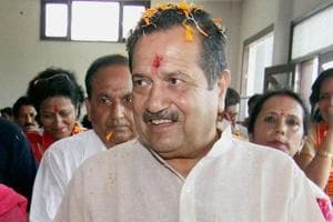 RSS leader Indresh Kumar arrives to attend a meeting organised by Bharat-Tibet Sahyog Manch in Jammu.