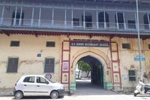 The facade of the Benarsi Dass High School in Ambala Cantonement. The institution has a strength of 550 students today.