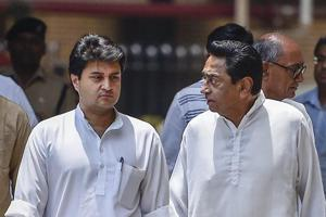 Madhya Pradesh State Congress Committee president Kamalnath with senior Congress leaders Jyotiraditya Scindia, coming out of the Election Commission of India, in New Delhi.