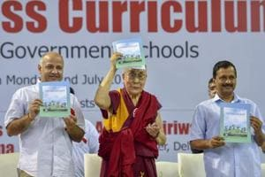 Tibetan spiritual leader Dalai Lama with Delhi Chief Minister Arvind Kejriwal and Deputy CM Manish Sisodia launches