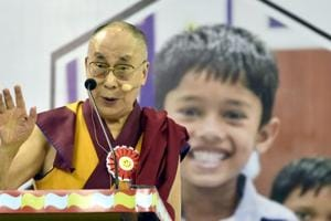 The Dalai Lama addresses teachers after the inauguration of Happiness Curriculum of the Delhi government at Thyagraj Sports Complex in New Delhi, India on Monday, July 2, 2018.