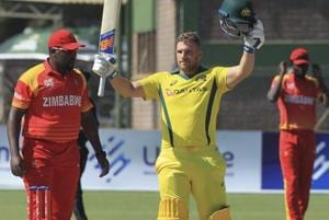 Australia batsman Aaron Finch celebrates scoring a century during the T20 match against Zimbabwe at Harare Sports Club on Tuesday.