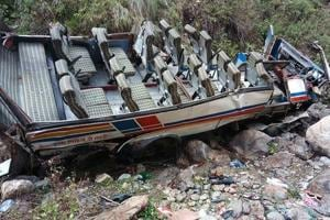 Forty-eight people died and 12 injured on Sunday when a private bus they were travelling in fell into a 100-metre-deep gorge near Gween village, close to Dhumakot, in Uttarakhand's Pauri Garhwal district.