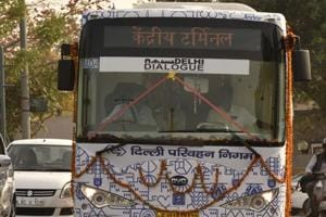 New Delhi, India - March 10, 2016: DTC Electric Bus after the flag off by Gopal Rai (Minister of Transport, Delhi) at Delhi Secretariat,I P Extension in New Delhi, India, on Thursday, March 10, 2016. (Photo by Virendra Singh Gosain/ Hindustan Times)