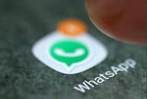 The WhatsApp app logo is seen on a smartphone in this picture illustration taken September 15, 2017.