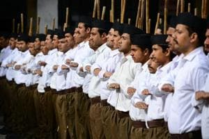 RSS volunteers take part in a camp at Sarasvati Vidya Mandir School in Shimla. The camps are held annually and volunteers take a break from work or studies for at least 14 days.