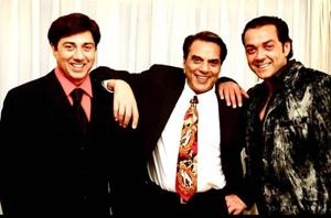 Actors Dharmendra, Sunny and Bobby Deol feature together in Apne and Yamla Pagla Deewana.
